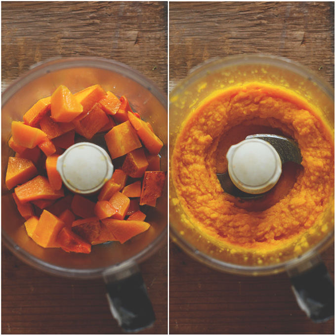 Food processor showing shots of roasted and then pureed butternut squash