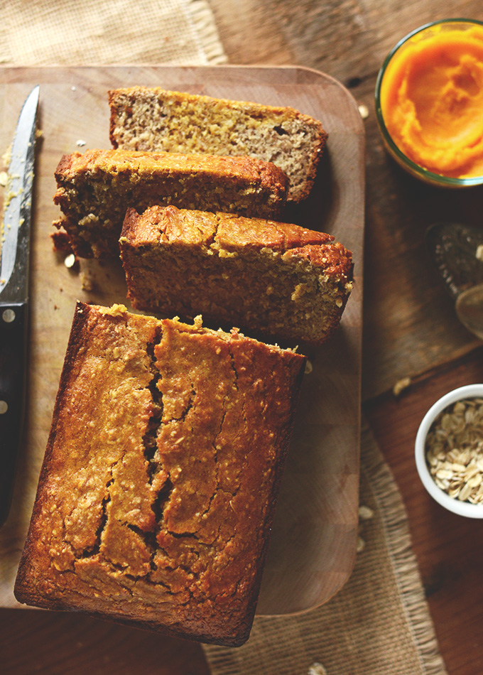 Partially sliced loaf of Gluten-Free Butternut Squash Bread