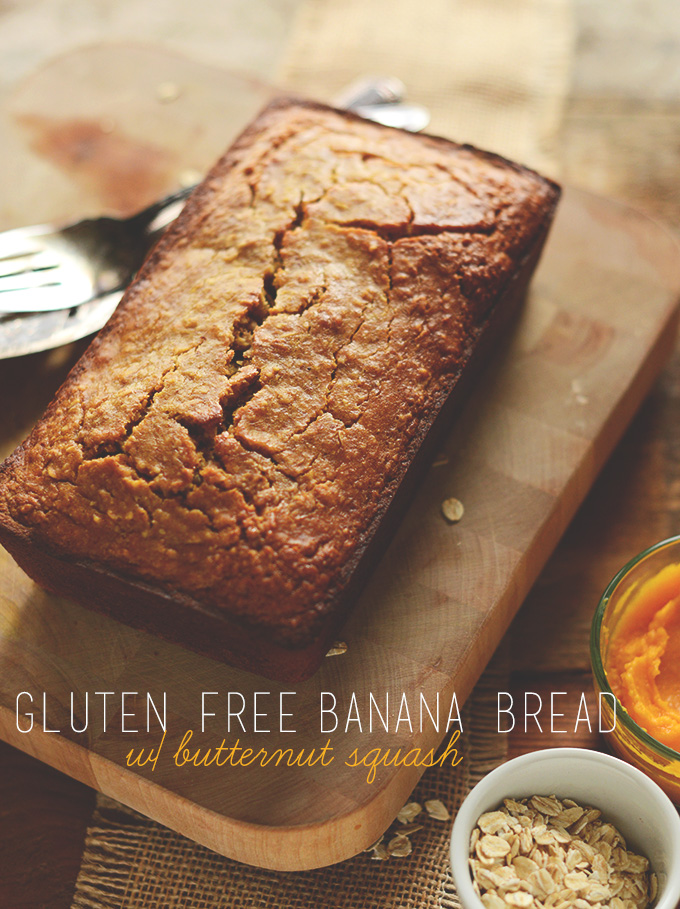 Loaf of Gluten-Free Banana Bread alongside bowls of butternut squash and oats