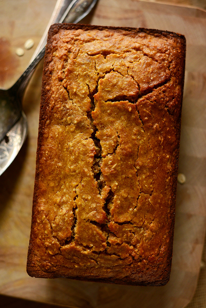 Loaf of freshly baked Gluten-Free Butternut Squash Banana Bread