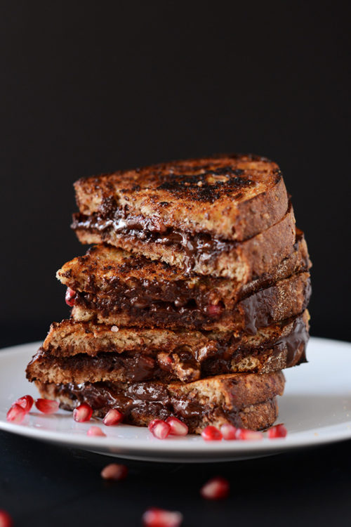 Stack of Grilled Pomegranate, Almond Butter, and Dark Chocolate Sandwiches for a delicious dairy-free snack