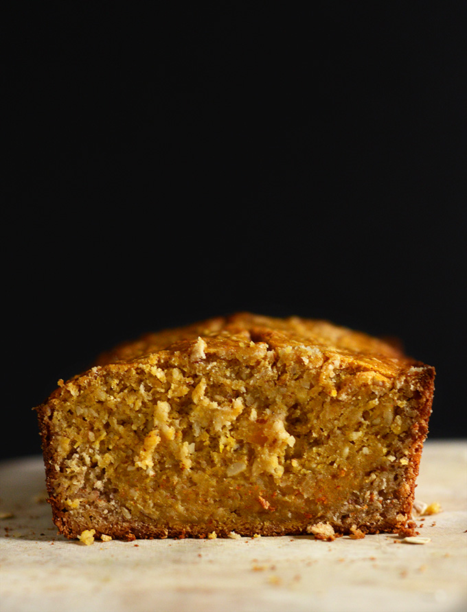 Showing the inside of a loaf of delicious 1-Bowl Butternut Squash Banana Bread