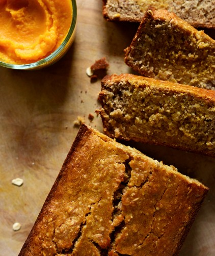 Loaf of simple to make Gluten-Free Banana Bread with Butternut Squash