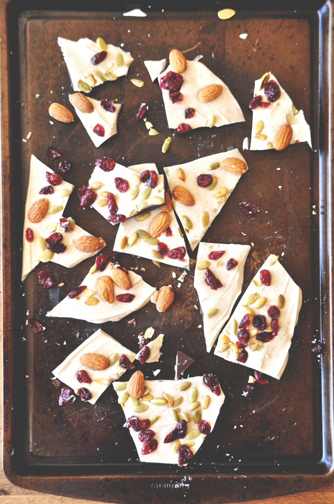 Baking sheet filled with Pumpkin Bark for our Thanksgiving recipe roundup