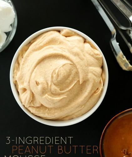 Bowl of rich vegan Peanut Butter Mousse