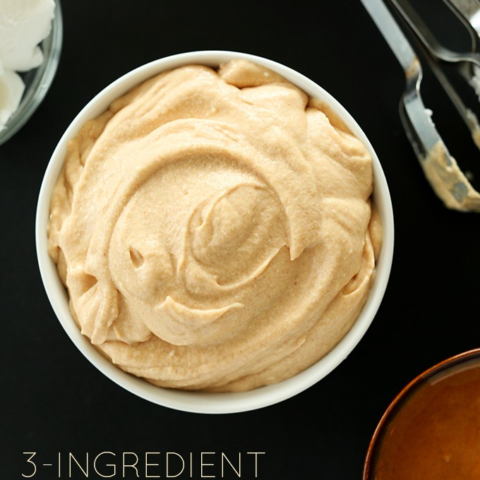 Bowl of rich vegan Peanut Butter Mousse