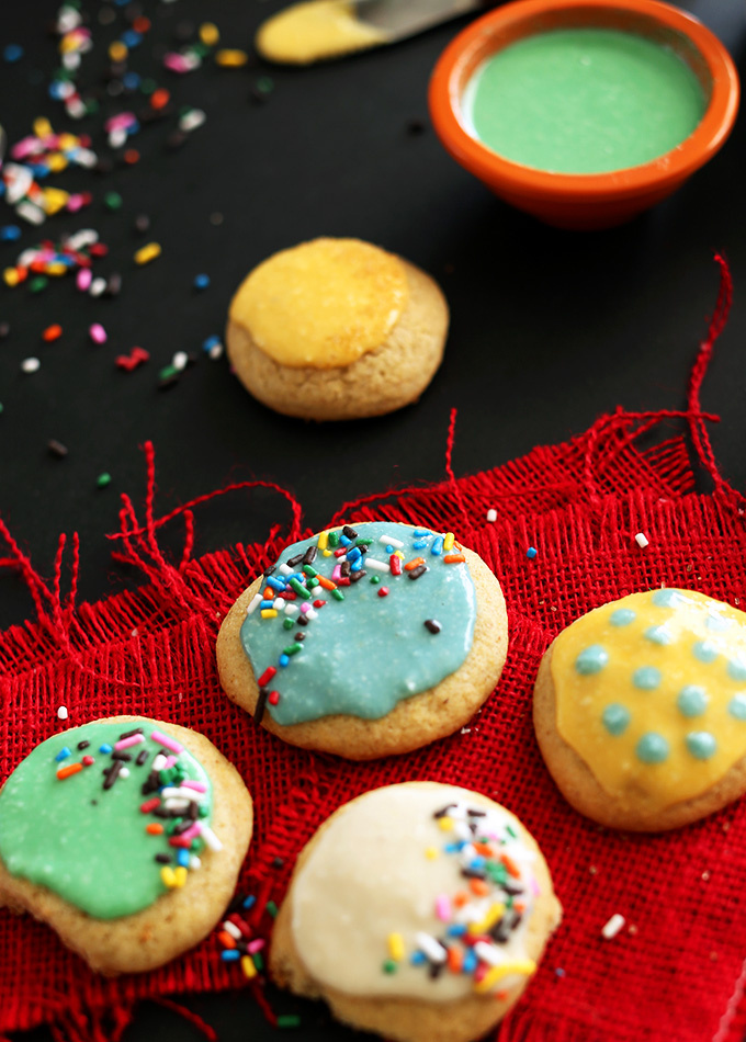 Sugar cookies decorated with healthy vegan homemade frosting