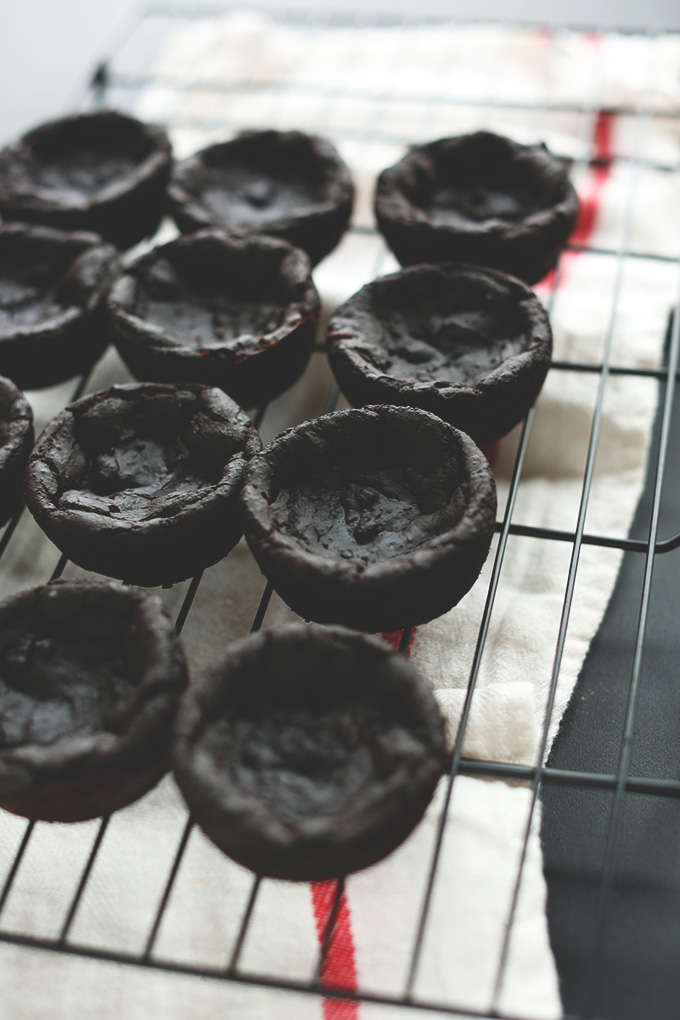 Black Bean Peppermint Brownies cooling on a rack