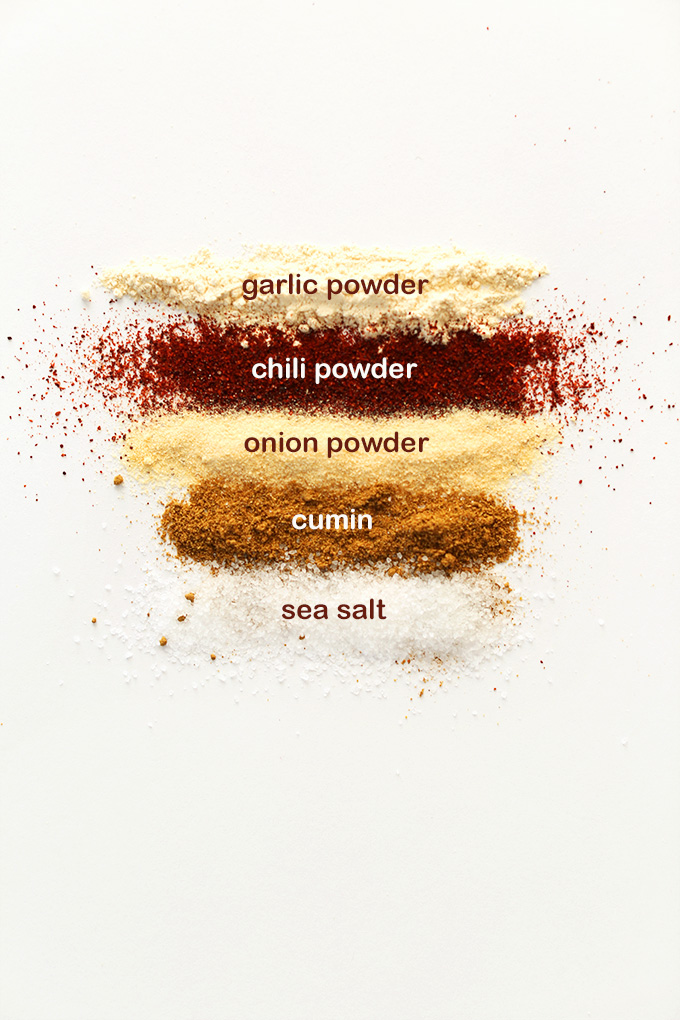 garlic powder, chili powder, onion powder, cumin, and sea salt for making Chili Cheese Fritos