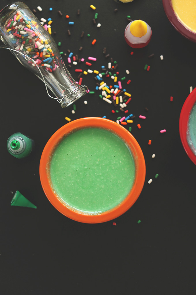 Bowl of green Coconut Macadamia Butter Frosting