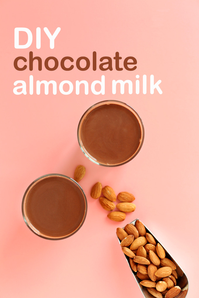 Scoop of almonds and two glasses of simple DIY Chocolate Almond Milk