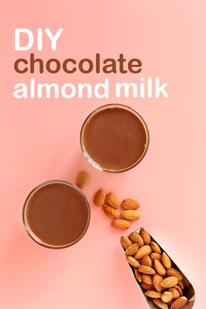 Glasses of delicious vegan Chocolate Almond Milk