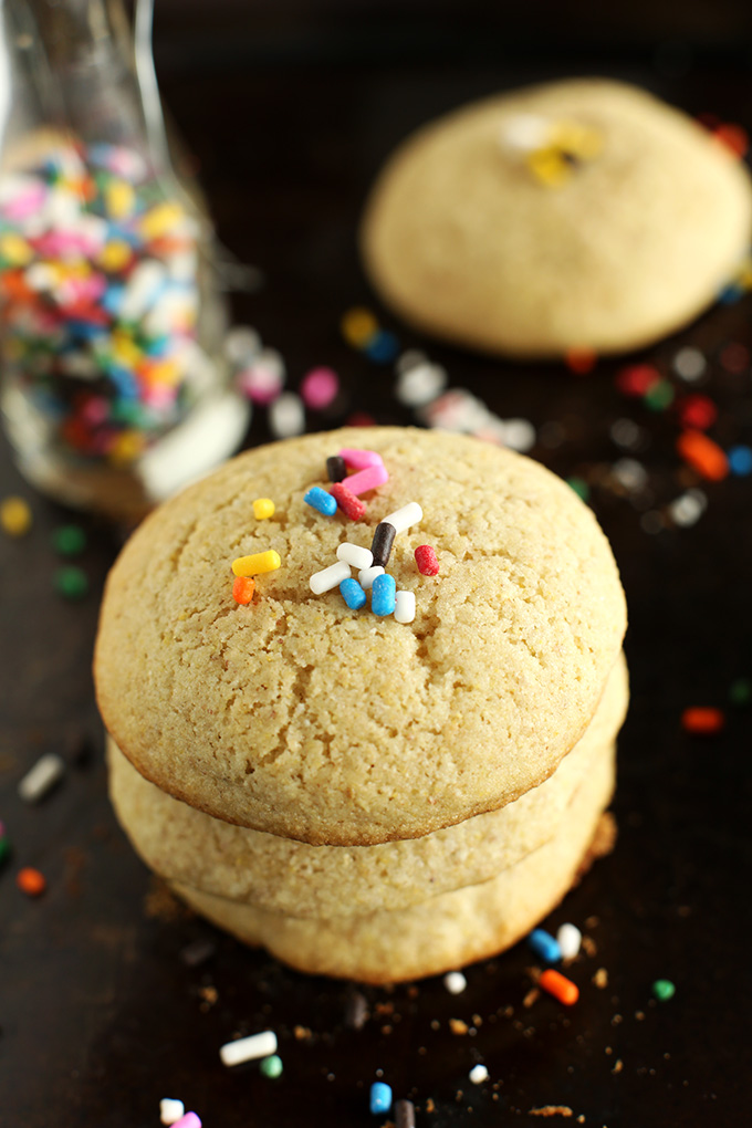 Stack of Easy Gluten-Free Sugar Cookies topped with rainbow sprinkles