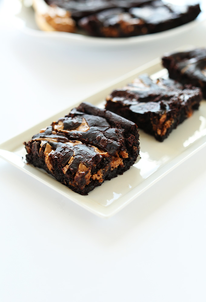 Plate with squares of our Fudgy Peanut Butter Swirl Brownies