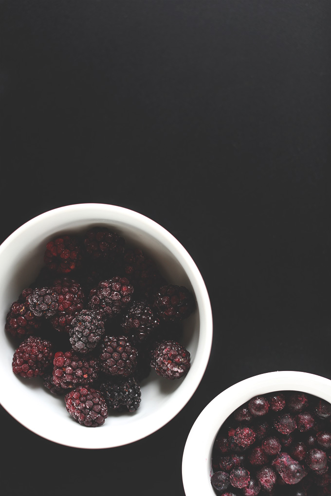 Frozen blueberries and blackberries for adding to our Vegan Detox Smoothie