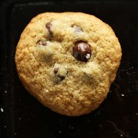 Close up shot of a soft and chewy Gluten-Free Chocolate Chip Cookie