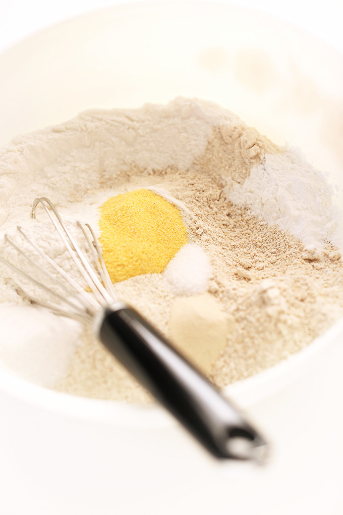 Whisking together flours for DIY gluten-free pancake mix
