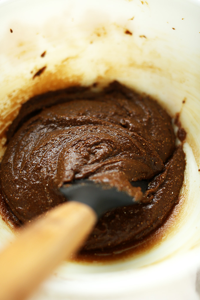 Using a rubber spatula to mix the batter for Gluten-Free Vegan Gingerbread Cookies