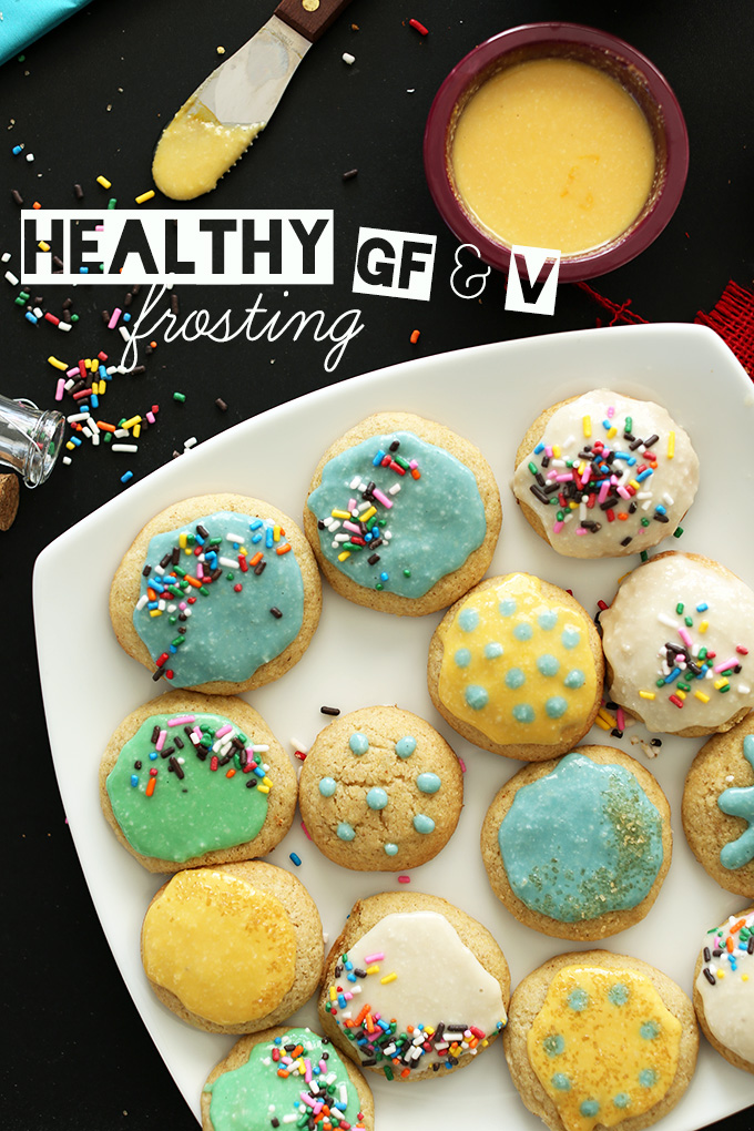 Plate of cookies decorated with our homemade Gluten-Free Vegan Frosting recipe