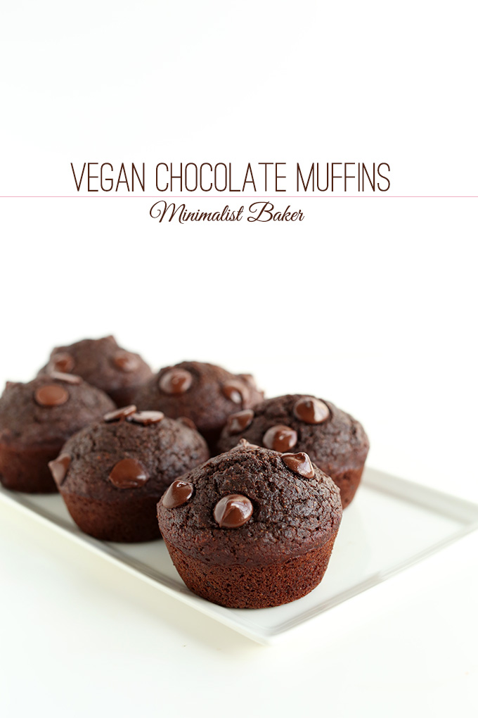 Plate of Vegan Double Chocolate Muffins