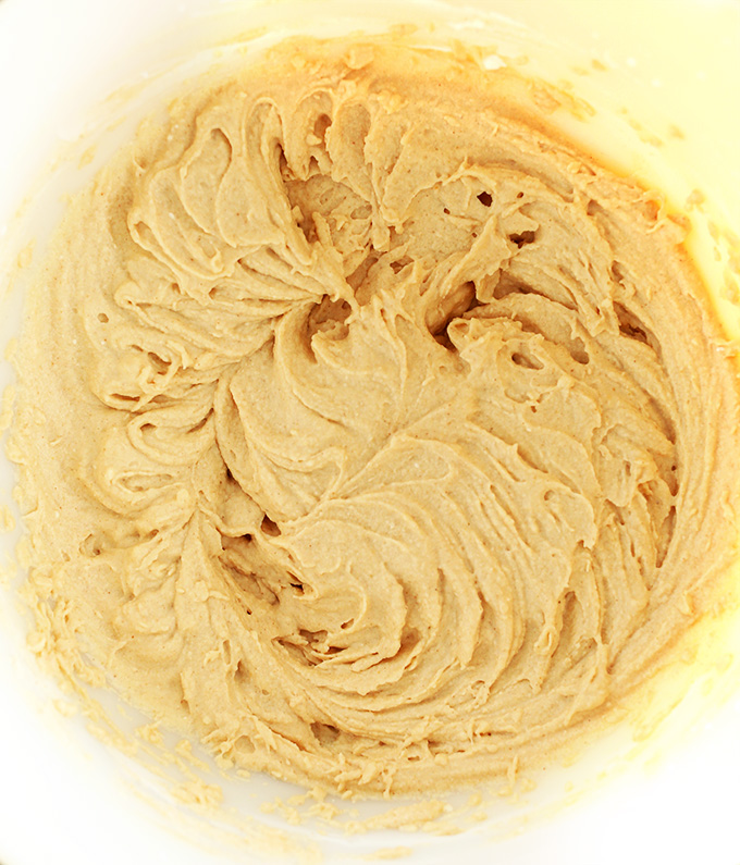Bowl of freshly whipped gluten-free vegan Peanut Butter Mousse