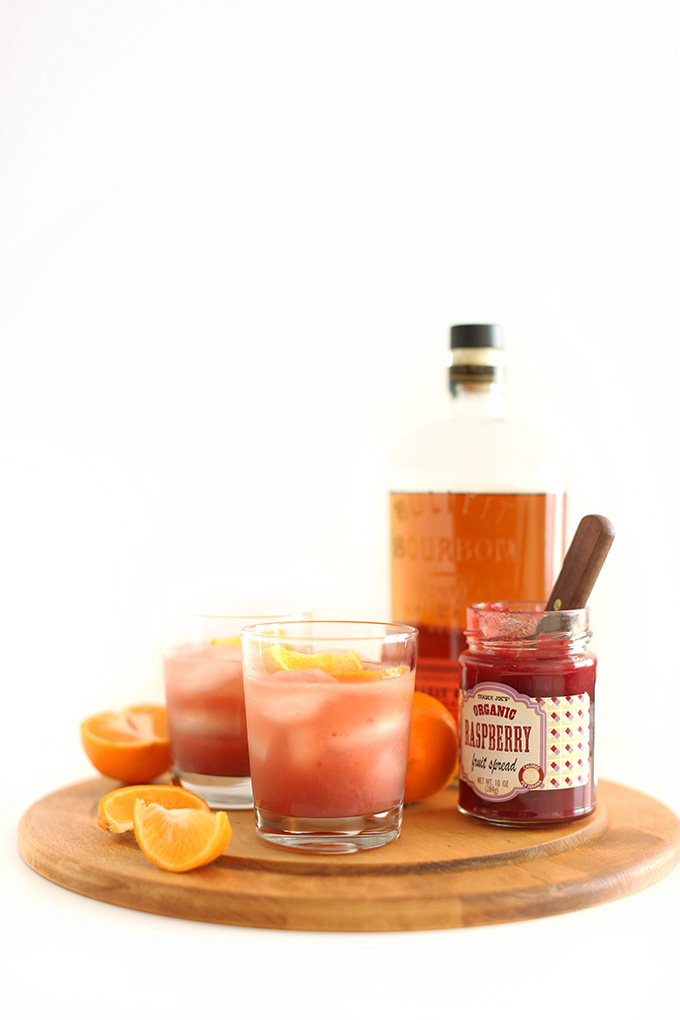 Glasses of Raspberry Jam Winter Bourbon Smash