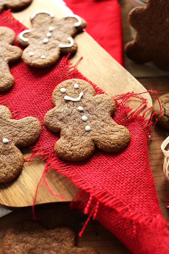 Simple Vegan Gluten-Free Gingerbread Cookies on a wood cutting board