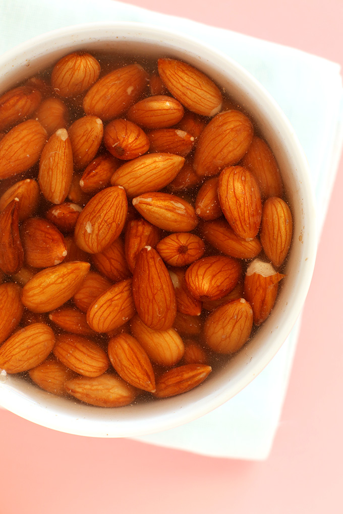 Soaking almonds to make DIY Chocolate Almond Milk