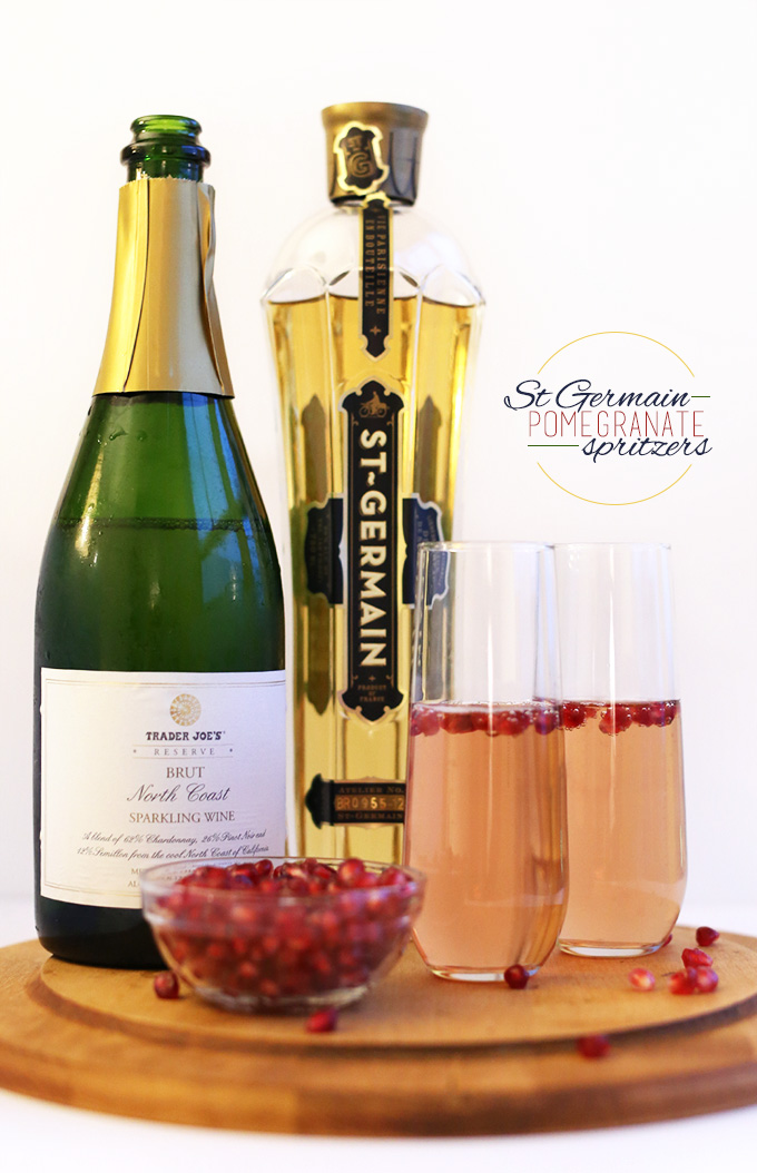 Champagne, St. Germain, semillas de granada y spritzers hechos de estos ingredientes