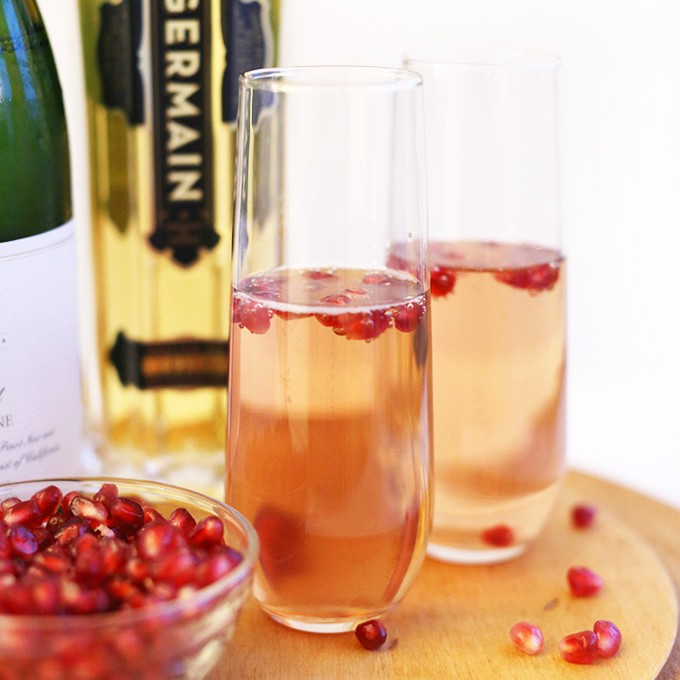 Glasses of our St. Germain Pomegranate Spritzers recipe