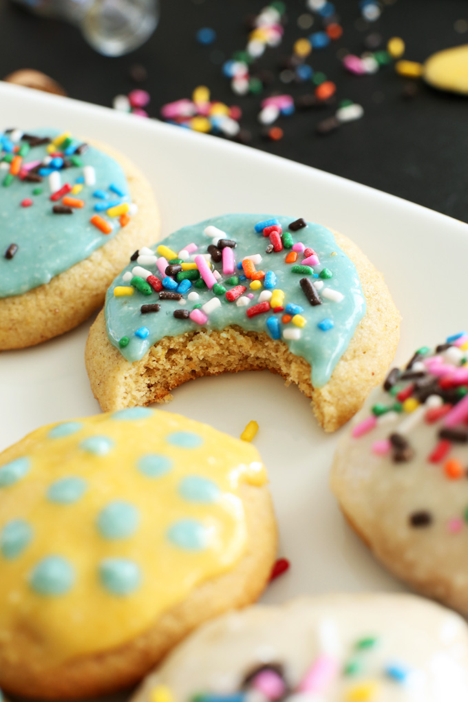 Sugar cookies topped with super simple homemade vegan frosting