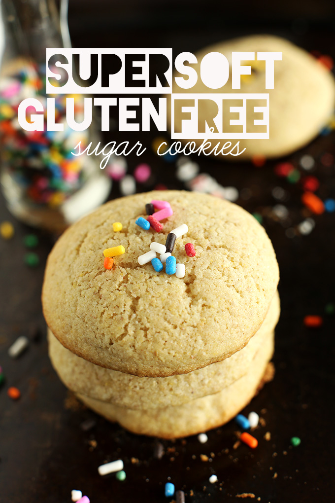stack of soft gluten free sugar cookies made from wholesome gluten free flour