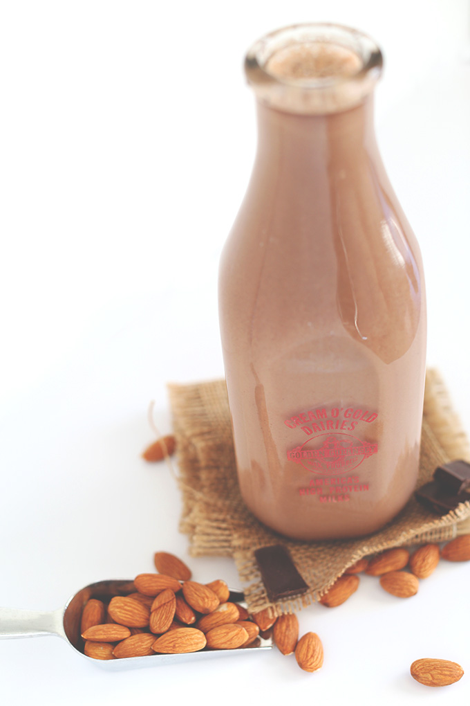 Milk jug filled with Super Thick Chocolate Almond Milk