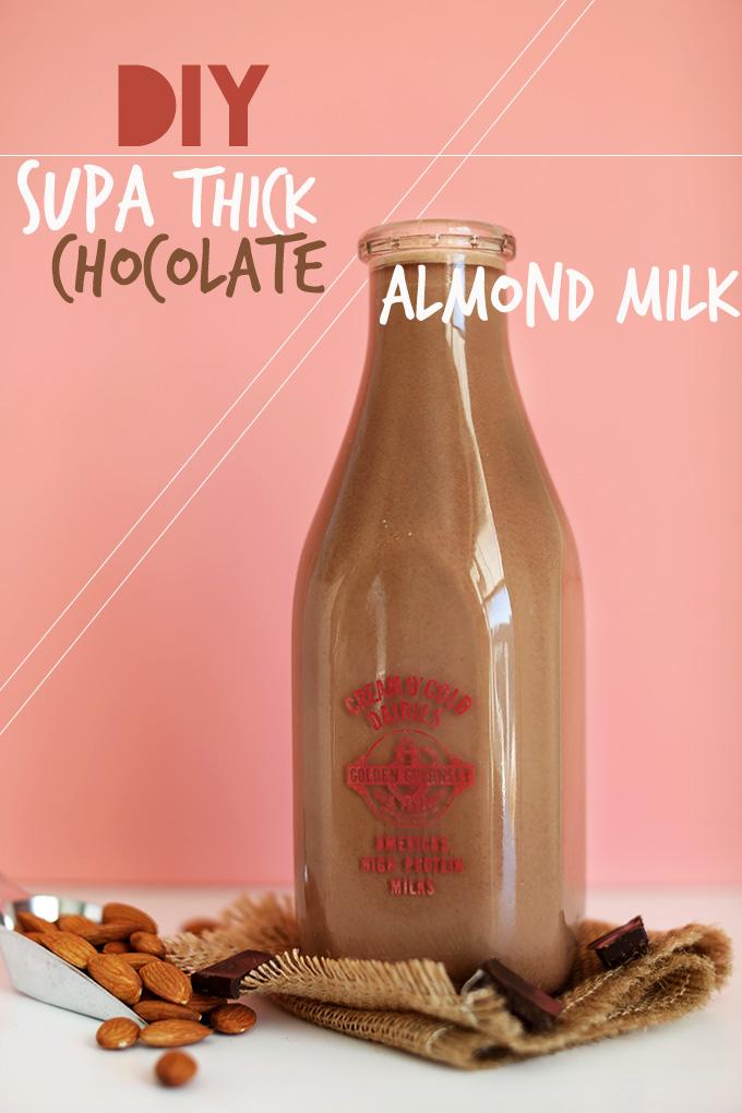 Milk jug filled with DIY Chocolate Almond Milk