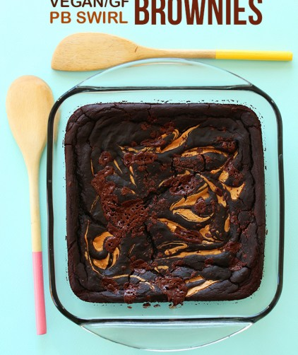Baking dish filled with a batch of our Vegan GF Peanut Butter Swirl Brownies recipe