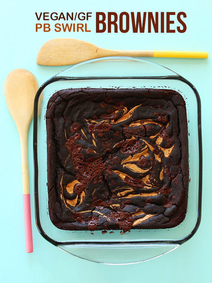 Batch of our Vegan GF Peanut Butter Swirl Brownies in a glass baking dish