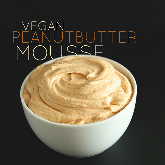 Bowl filled with homemade Vegan Peanut Butter Mousse