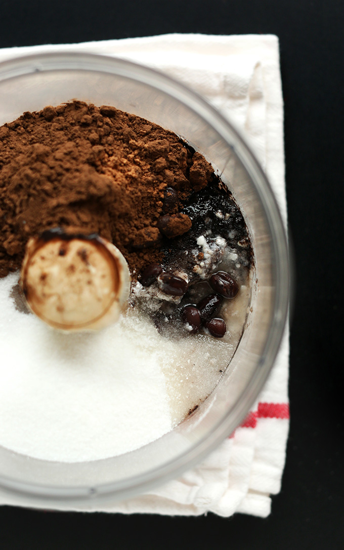 Food processor filled with ingredients for making our Vegan Black Bean Peppermint Brownies