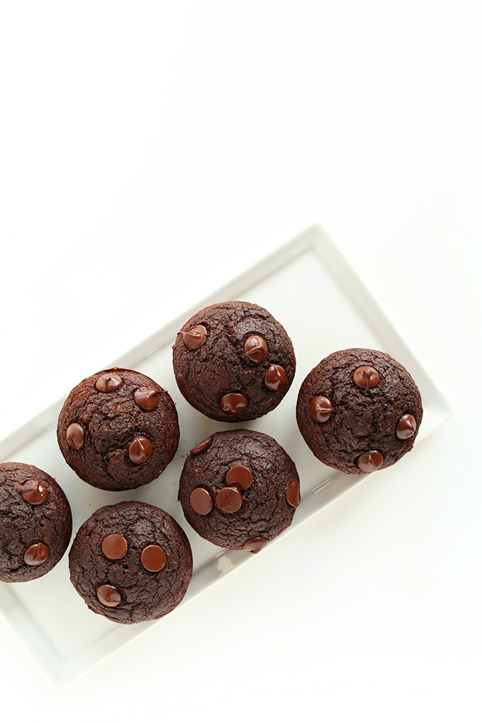 Healthy dessert of Vegan Double Chocolate Muffins made with beets