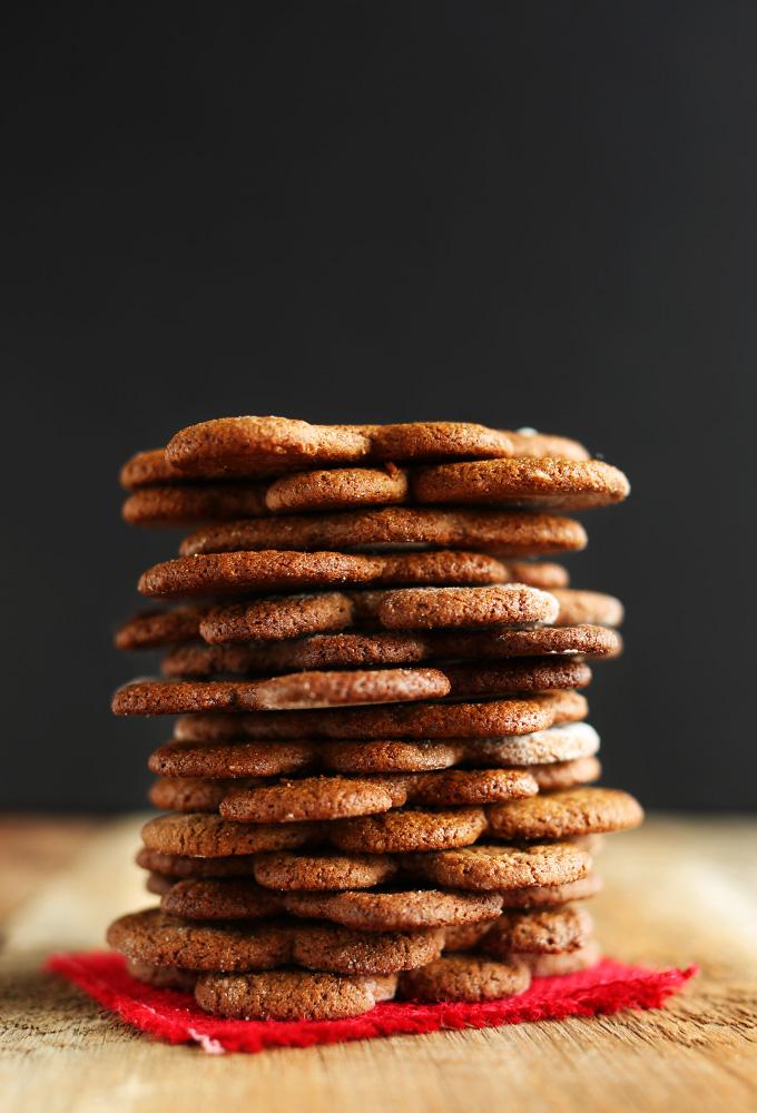 Tall stack of Vegan Gingerbread Men cookies