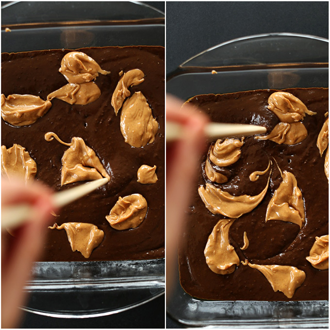 Using a chopstick to create a Peanut Butter Swirl in the batch of brownies