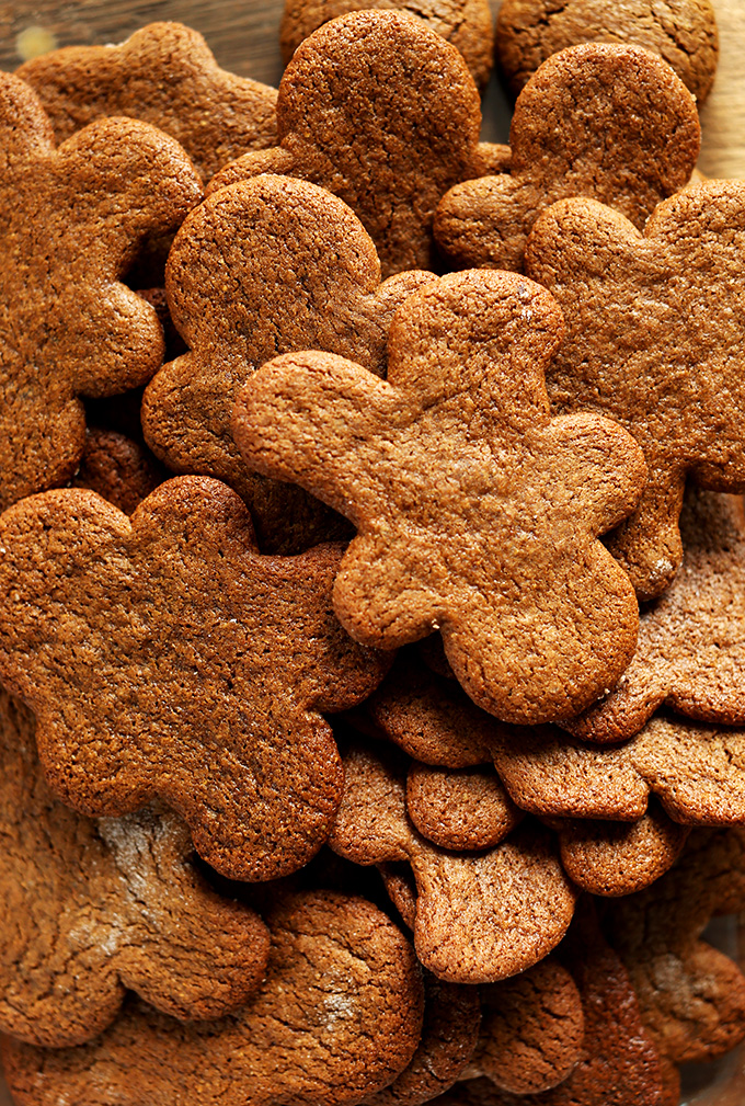 Cutting board with a batch of our Vegan Gluten-Free Gingerbread Men recipe