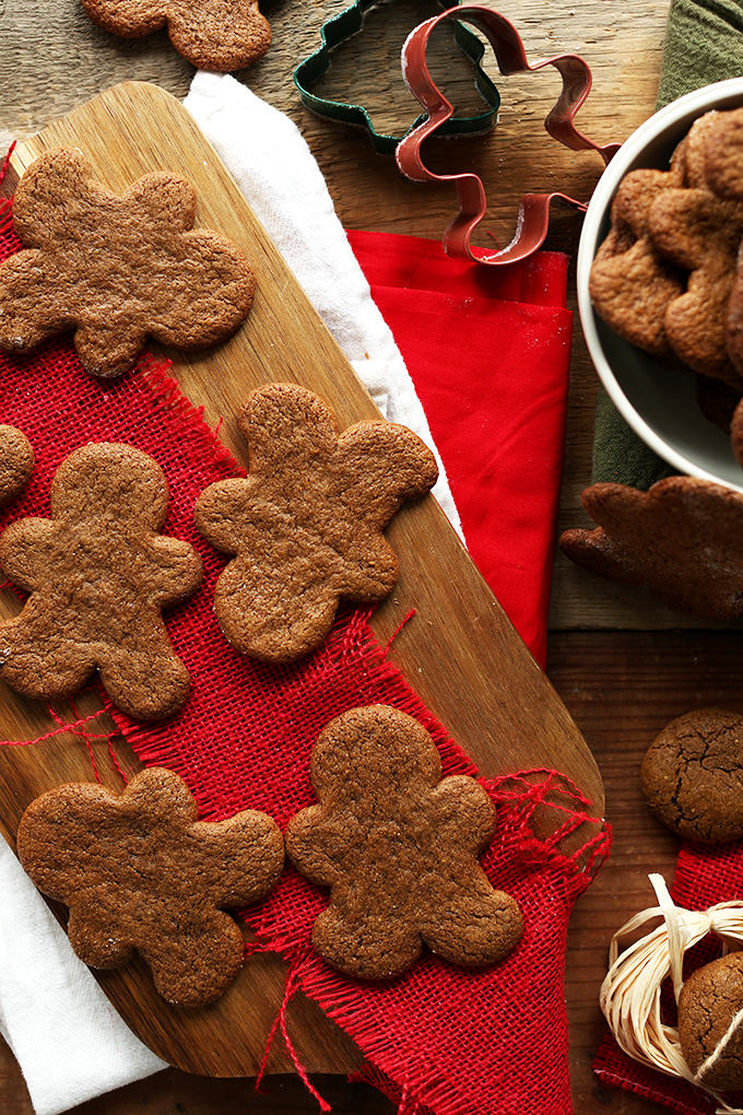 Undecorated Vegan Gluten-Free Gingerbread on a wood board