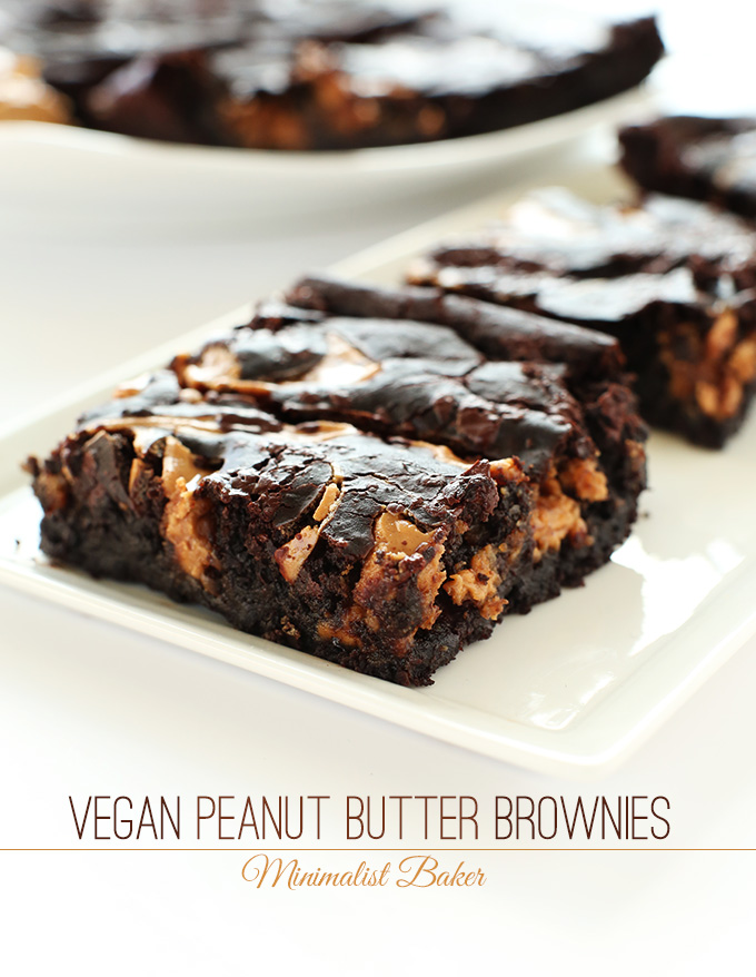 Squares of delicious Vegan Peanut Butter Swirl Brownies on a plate