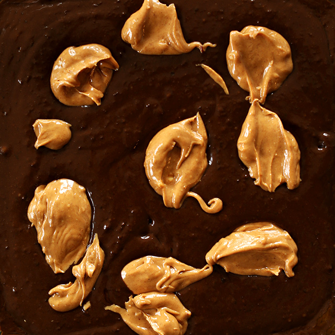 Showing step 1 for how to create a peanut butter swirl in brownies