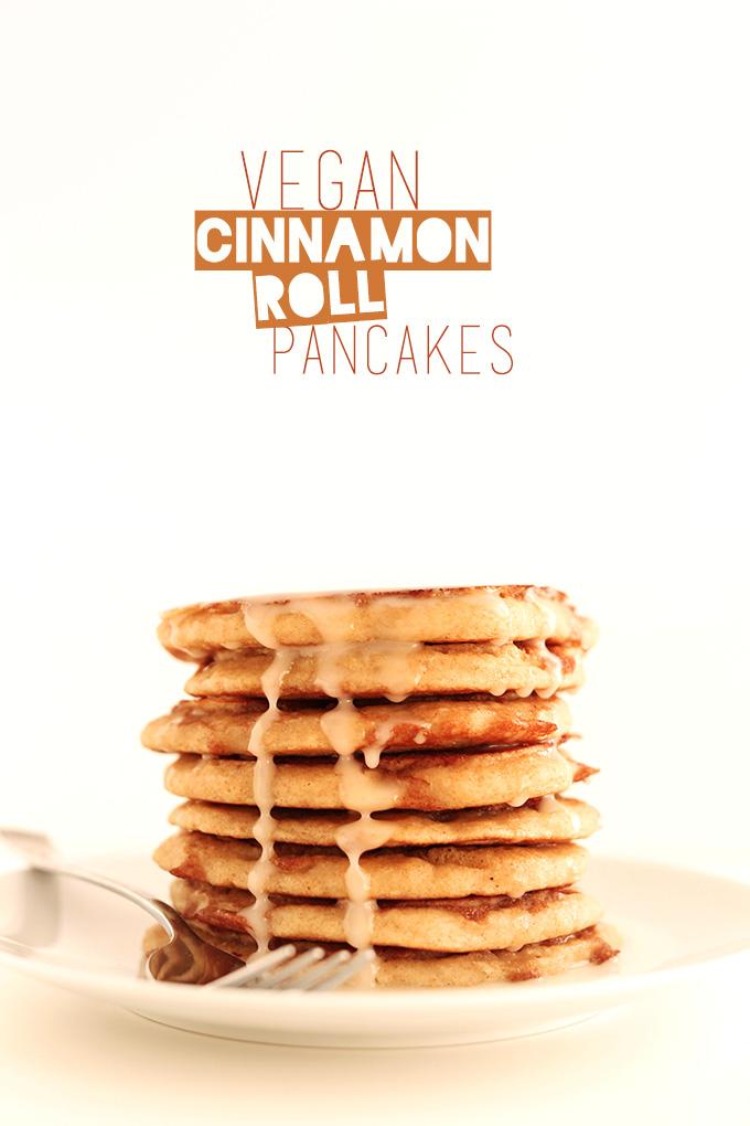 Tall stack of Vegan Cinnamon Roll Pancakes