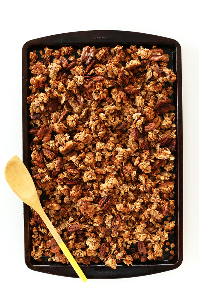 Baking sheet filled with a batch of our homemade 30-Minute Banana Bread Granola