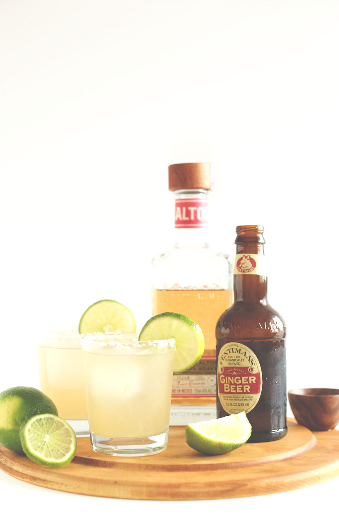 Homemade Ginger Beer Margaritas on a cutting board
