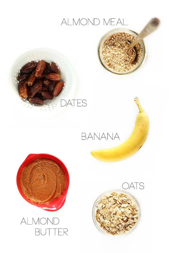 Almond meal, dates, banana, almond butter, and oats for making Healthy Vegan Cookies