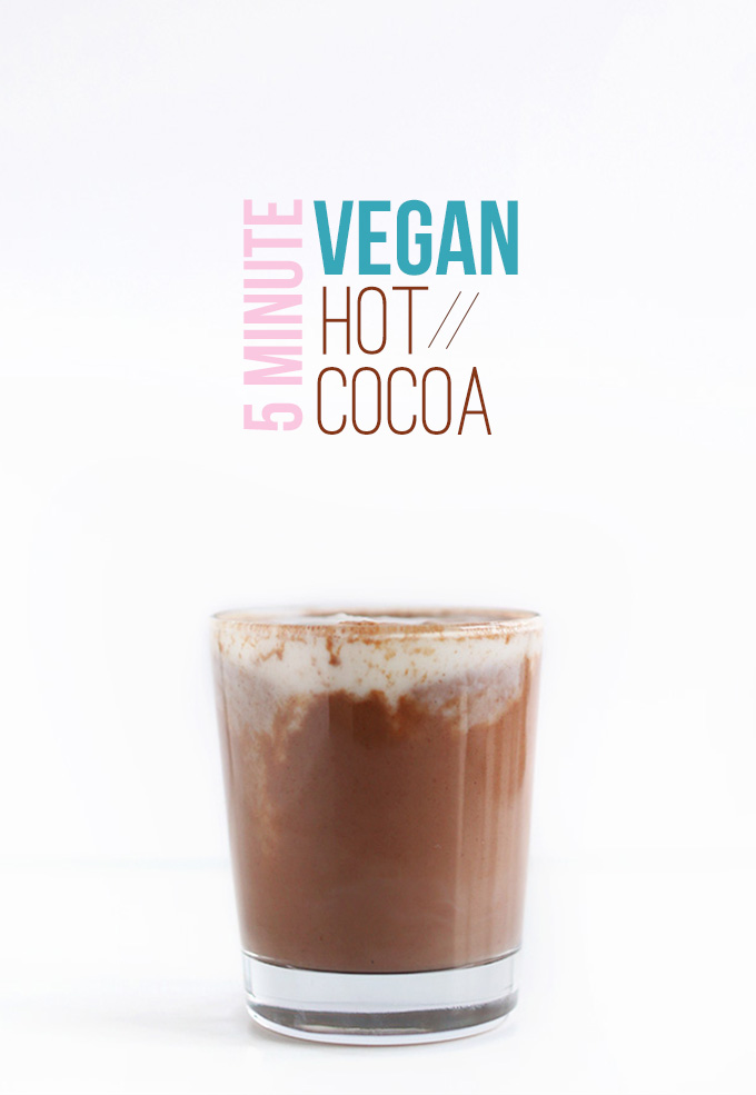 Glass filled with our Vegan Hot Cocoa Recipe